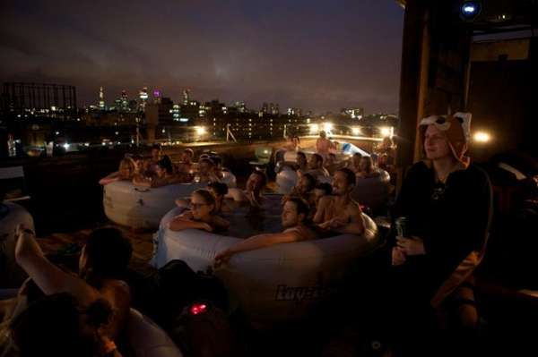 Hot Tub Cinema Event on the Roof of a Warehouse in Hackney, East LondonRoof, Wareh, Cinema Events, Tubs Cinema, Hot Tubs