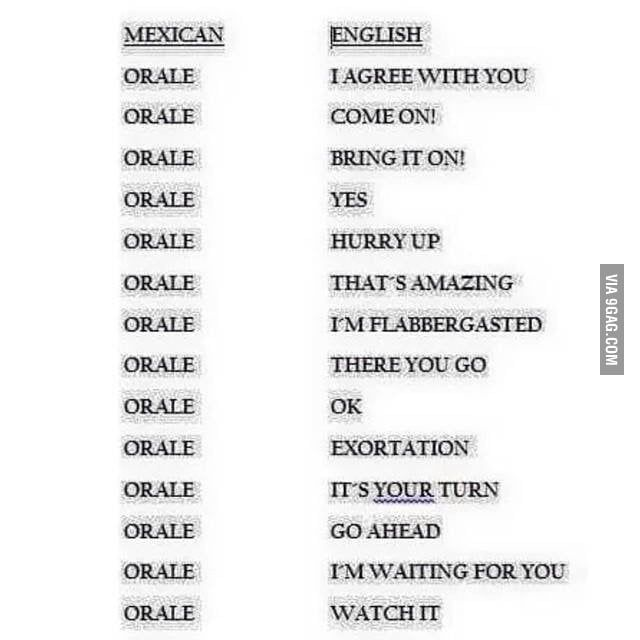 Here In Mexico Our Multi Meaning Word Is Orale Spanish Slang Learning Spanish Slang Words