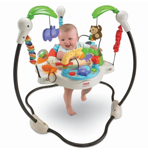 Top 5 Baby Bouncers and Jumpers This bouncer helps to develop motor skills and coordination. It comes with lights, sounds and music that is activated when baby bounces. It is also adjustable so that as baby grows, the bouncer grows as well. There are lots of toys for baby to reach for and grab.