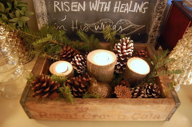 rustic christmas decorations-so many ideas for a rustic wooden box. Love this  with candles. Put up high or Alex will want to take a look.