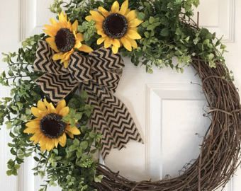 SUNFLOWER WREATH,Sunflower,Summer Wreath,Chevron Wreath,Front Door Wreath, Burlap Wreath, Grapevine Wreath,Fall Wreath,Year Round Wreath