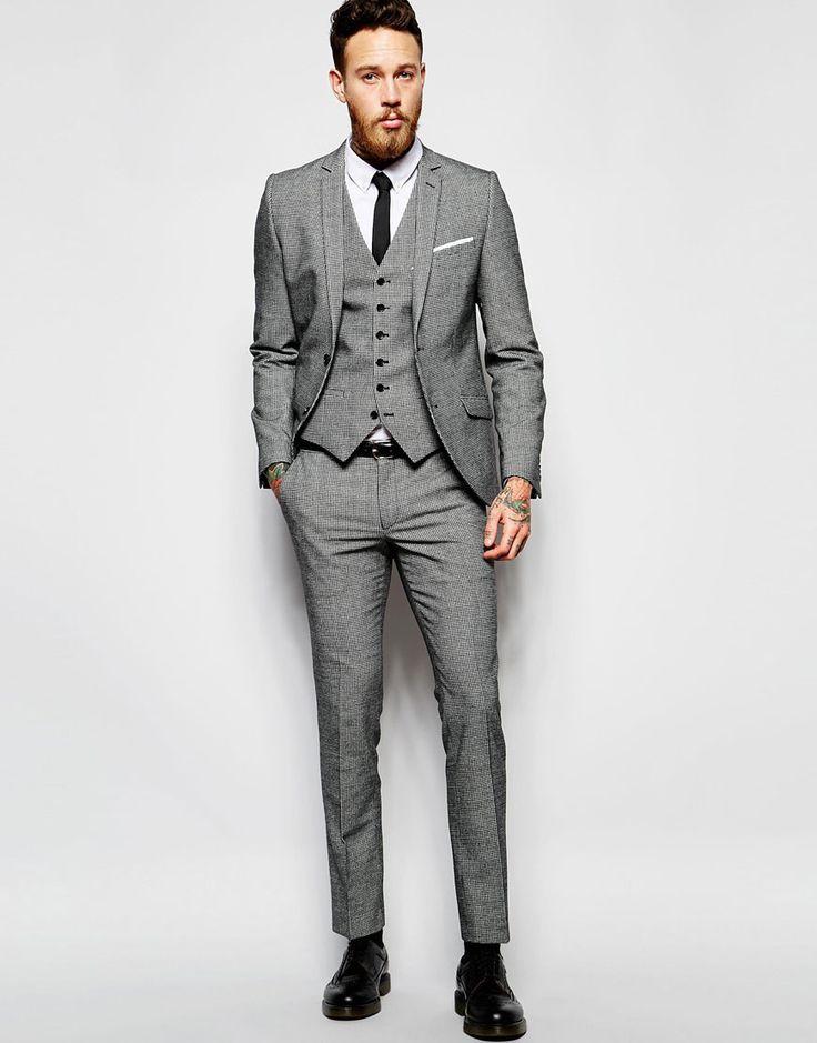 Bild 1 von Heart & Dagger – Eng geschnittener Anzug mit Hahnentrittmuster in Schwarz