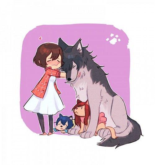 Hana, Wolfman/Koda, Ame, and Yuki - Wolf Children
