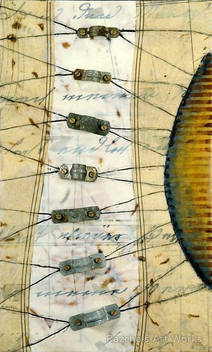 """Pam Nichols Haywire Encaustic with rust, paper and found object on wood panel 12"""" x 20"""""""