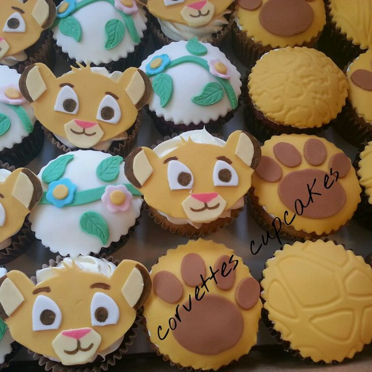 Lion king baby shower cupcakes