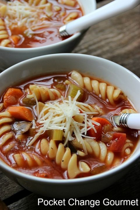 Look at all the chunky vegetables in this Crock Pot Vegetable Soup | Pocket Change Gourmet