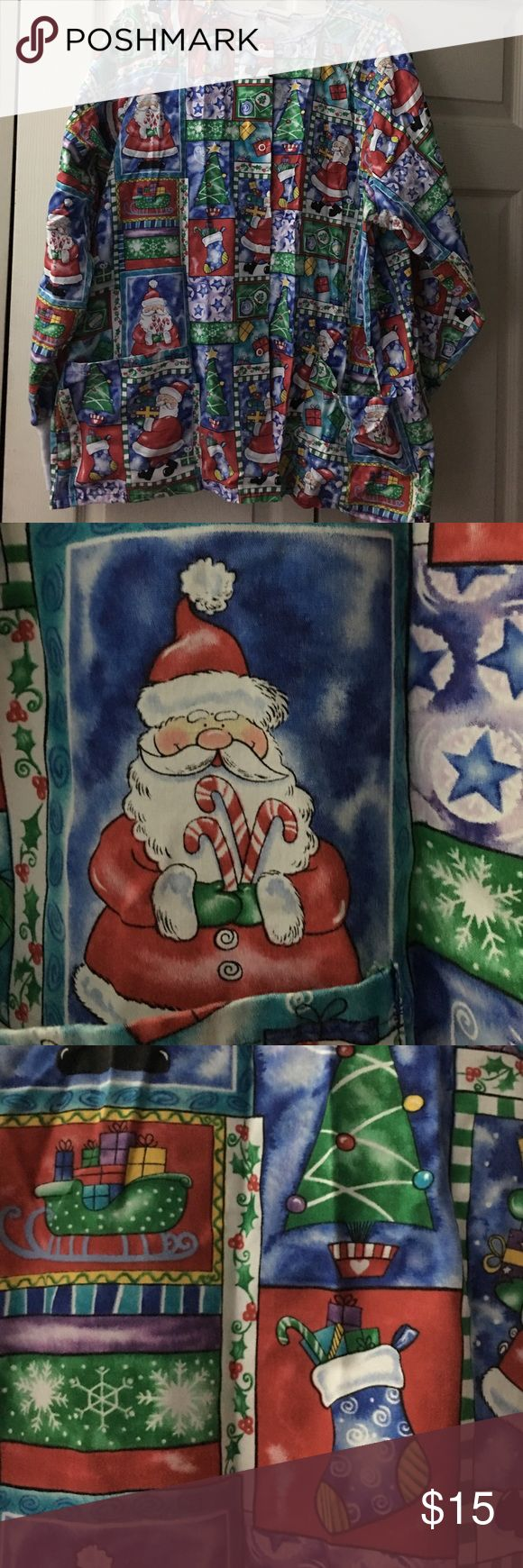 Holiday Scrub Jacket Holiday Scrub Jacket-Santa. Adorable scrub jacket in size L. Lightly used. Jackets & Coats