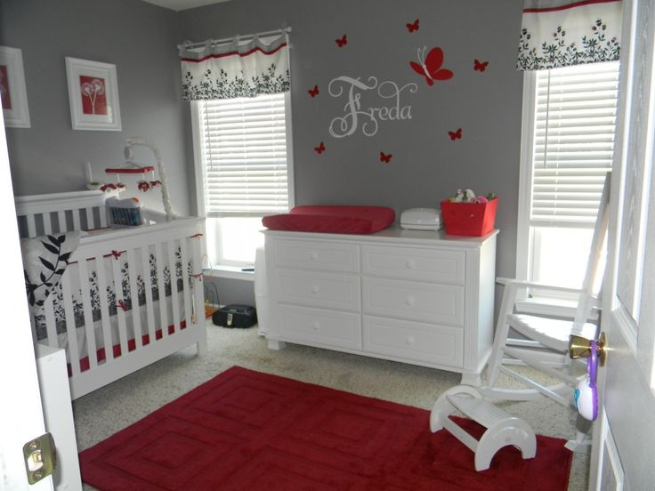 Adorable modern baby girl room! I never thought red and grey for a girl