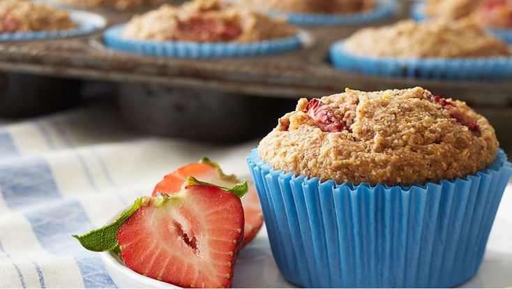 These muffins are the perfect breakfast or snack for those with celiac disease or wheat sensitivity. Homemade almond flour is a cinch to make in the food processor, and when combined with cornmeal and flaxseed produces a moist and tender crumb. Strawberry and banana contribute sweetness and a serving of fruit.