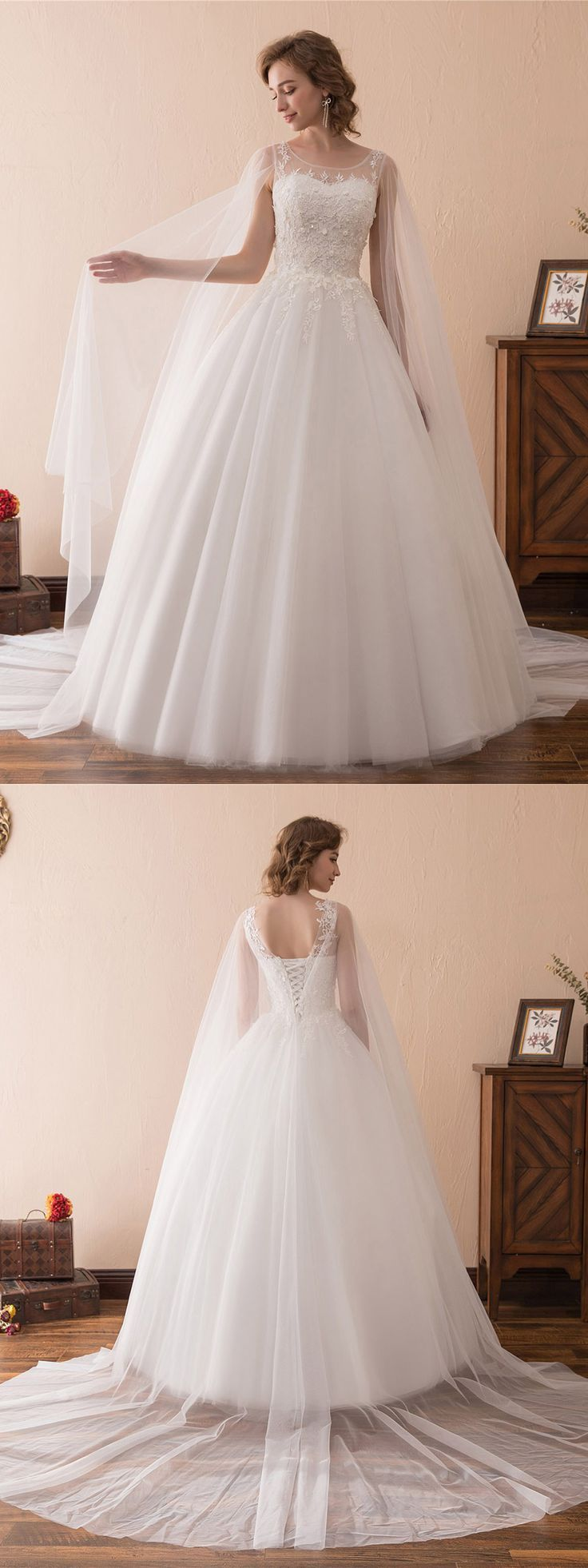Simple off white wedding dresses  Simple Tulle Lace Ballroom Wedding Gowns With Cape Train CH