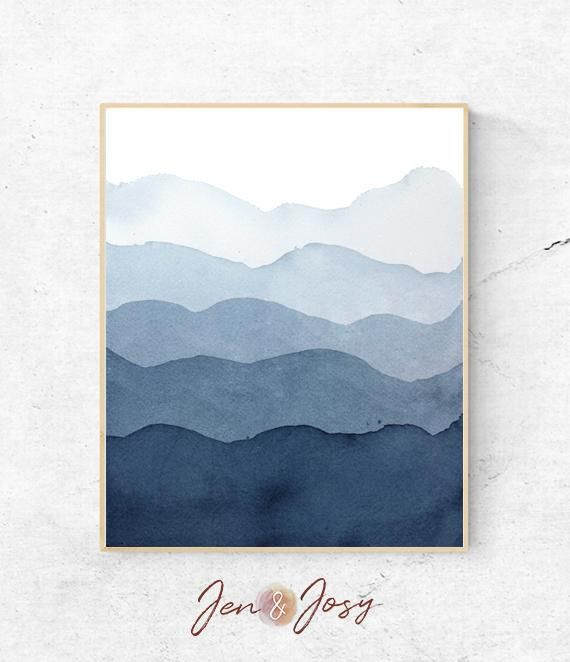 Abstract Mountains Watercolour Print Simple Contemporary