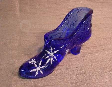 Fenton Cobalt Blue Glass Shoe Painted Snowflakes