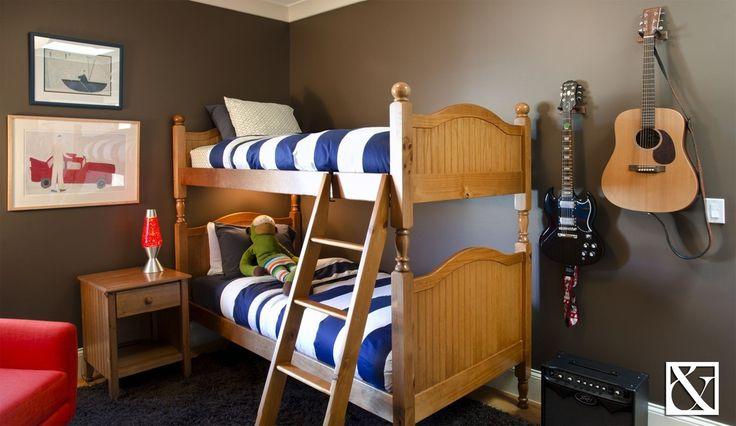 Eclectic Kids Bedroom with Target Room Essentials Rugby Comforter Blue/White, Venture Horizon Oak Finish Nouvelle Nightstand