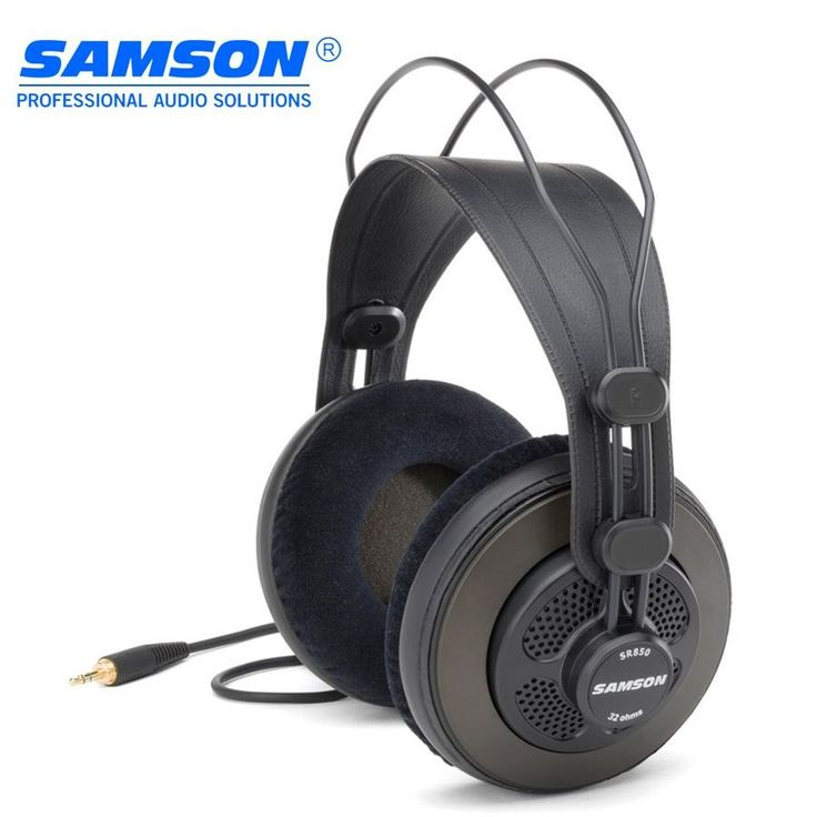 Original Samson SR850 monitoring HIFI headset Semi-Open-Back Headphones for Studio,PC recording K song game,with retail box