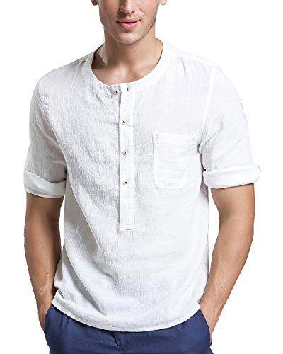 BYLUNTA Slim Fit Men's Linen & Cotton Long Sleeve Collarl...