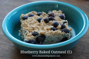 Blueberry Baked Oatmeal (E)~ Trim Healthy Mama friendly!  A Home With Purpose