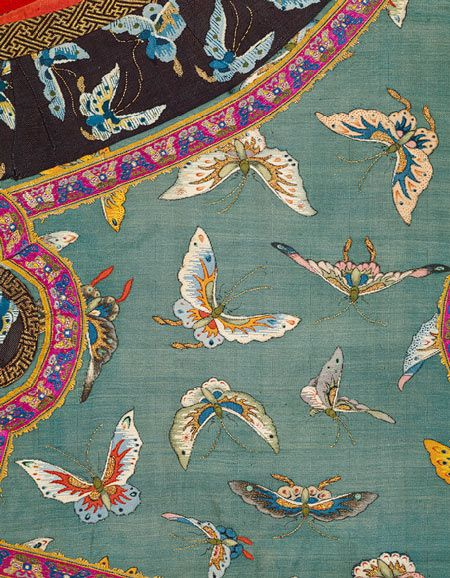 Woman's sleeveless jacket with butterflies (detail), late 19th–early 20th century China Tapestry-woven (kesi) silk and metallic thread