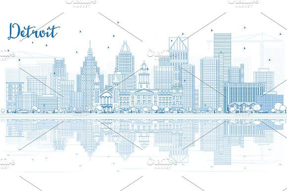 #Outline #Detroit #Skyline by Igor Sorokin on @creativemarket