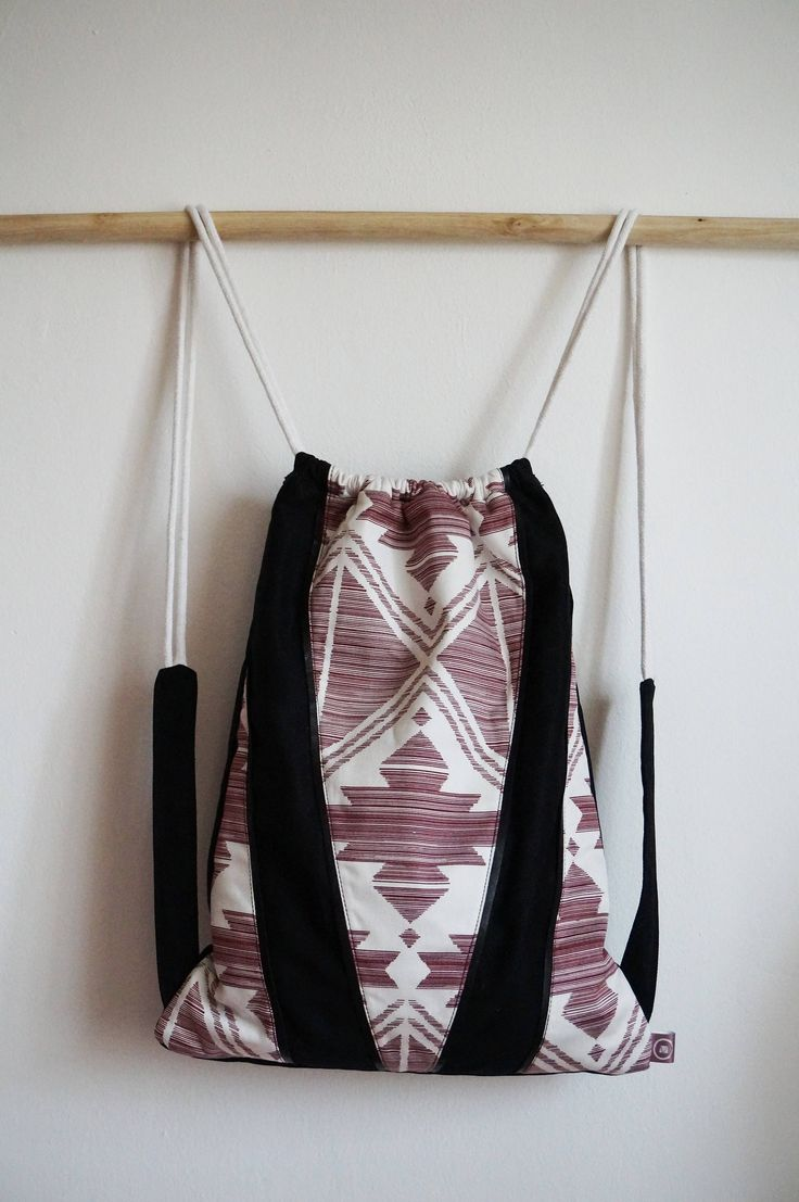 Drawstring bag- backpack- festival backpack- gift for her- drawstring backpack- women's bag-my favorit bag- black and white- light pink by ChignonMignonBags on Etsy