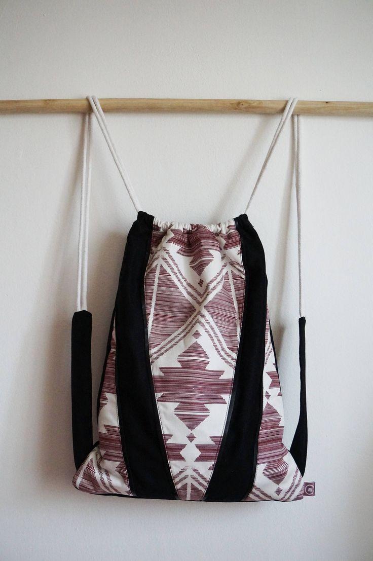 Drawstring bag- backpack- festival backpack- gift for her- drawstring backpack- women's bag-my favorit bag- black and white- light pink by ChignonMignonBags on Etsy