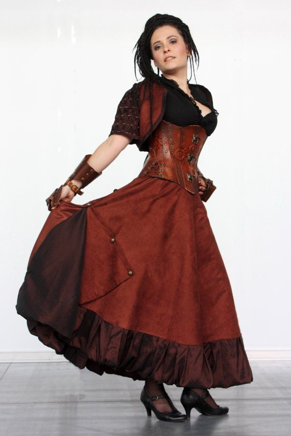 Long brown Victorian Steampunk skirt with by SteampunkAndFantasy