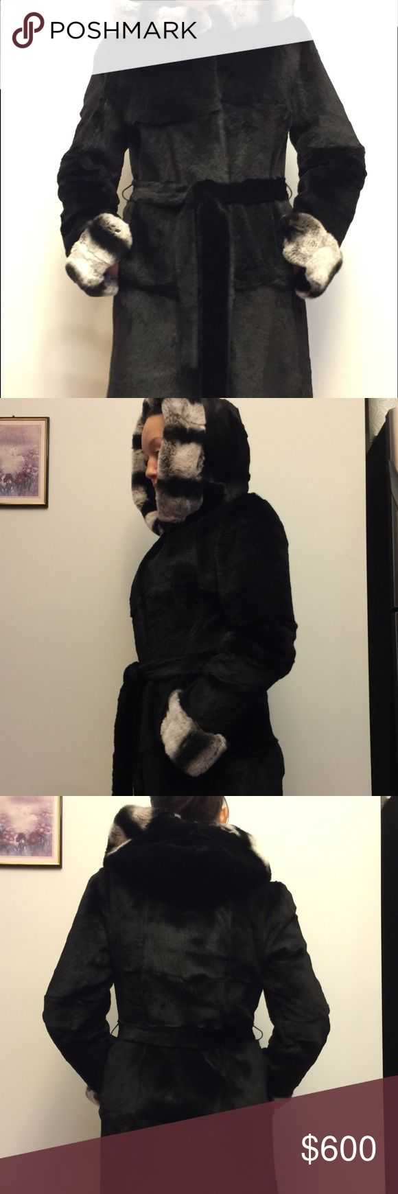 Rabbit and chinchilla fur coat 95% made of rabbit and 5% (hood and lower sleeve) made of chinchilla. Great for winter. Has good and pockets. Never worn. It was given to me as a gift but I don't wear fur coats. I need to sell it ASAP. Please share it. Size Small to Medium. n/a Jackets & Coats