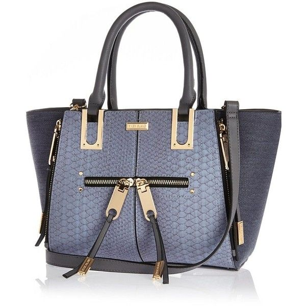 River Island Blue mini zip winged tote handbag ($51) ❤ liked on Polyvore featuring bags, handbags, tote bags, blue, wing tote, blue purse, zip top tote bag, structured tote and tote handbags