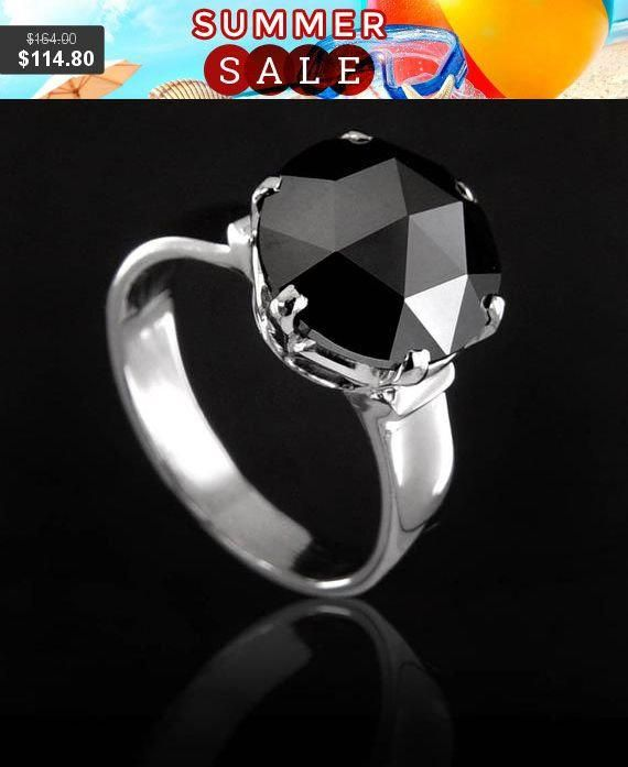 Promise Ring,Wedding Ring,Engagement Ring Certified Earthmined Round Brilliant Cut Black Diamond Solitaire Ring 2ct,3ct,4ct,5ct