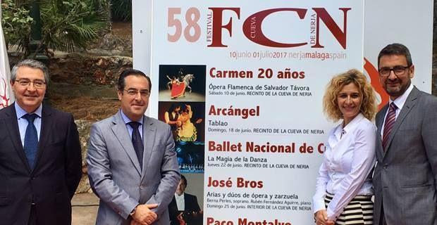 Carmen, Arcángel, el Ballet Nacional de Cuba, el tenor José Bros y el violinista Paco Montalvo conforman un cartel de lujo para esta edición.      La Fundación Cueva de Nerja ha presentado hoy el cartel oficial de la quincuagésimo octava edición de su Festival Internacional de Música y Danza,   #cueva de nerja #festival #flamenco