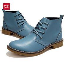 WeiDeng 4 Цвет Женская Мода Winte зашнуровать Натуральная Кожа Классическая Обувь Высокий Стиль Плоские Бренда Повседневная Обувь Сапоги 2016(China (Mainland))