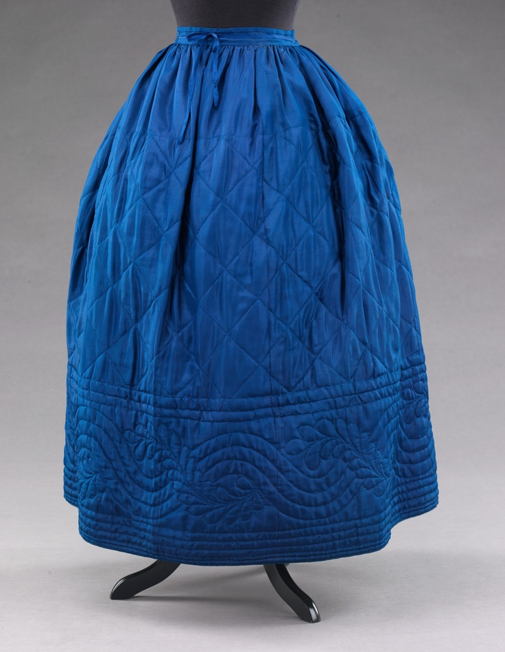 Blue silk quilted petticoat.-beautiful undergarment and would help keep one warm in winter!