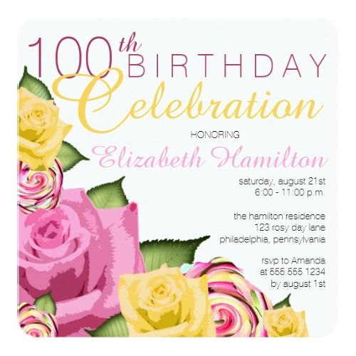251 best watercolor birthday invitations images on pinterest pink yellow floral 100th birthday celebration card 75th birthday invitationszazzle filmwisefo Choice Image