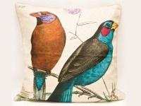 Cojín lino animales - pájaro azul y café by CasaMolino Deco