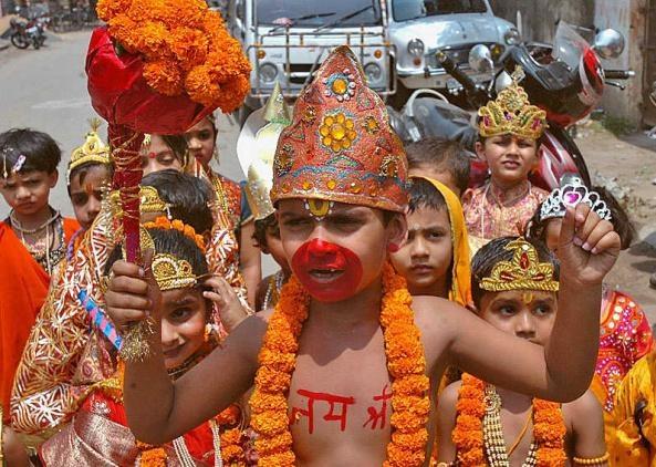 A child dressed up like Hanuman on the eve of Ram Navmi.