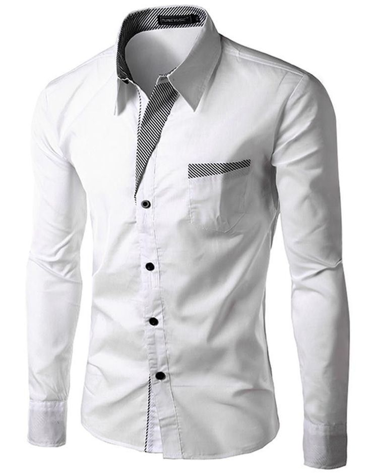 Mens Shirts Casual Slim Fit Stylish Hot Dress Shirts Color:White,Black,Red,Navy blue Size:M-L-XL-XXL