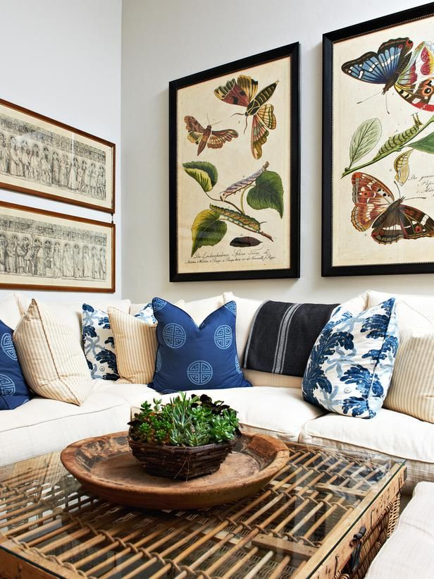 Designer Kari Arendsen Keeps It Casual In This Living Room Where Vintage Lithographs Of Butterflies And