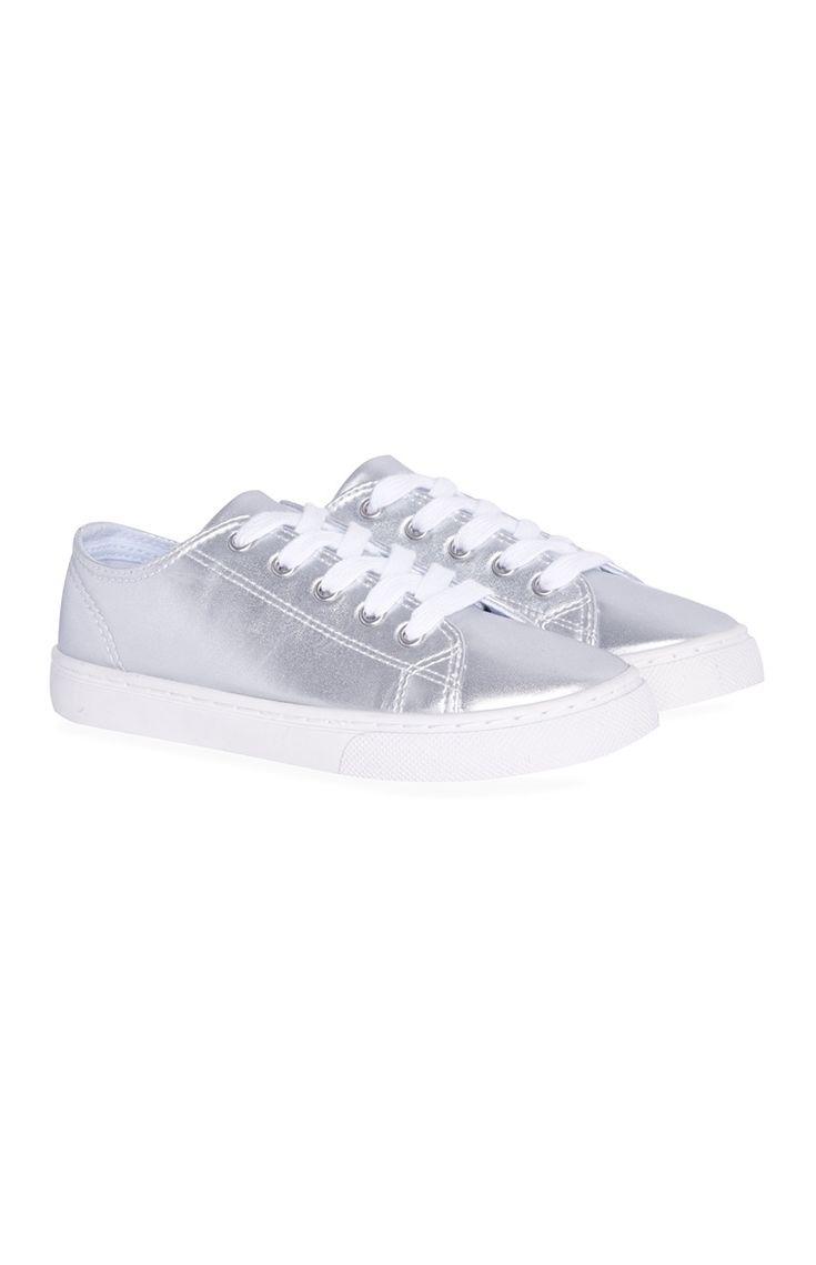 Primark - Metallic Gray Lace-Up Sneakers