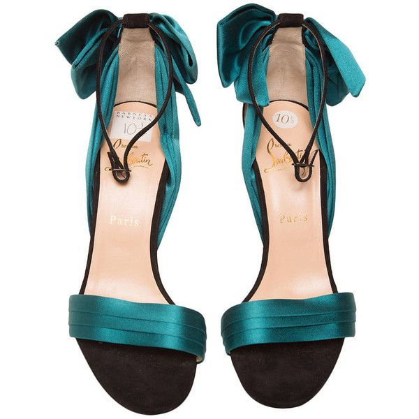 Pre-owned Christian Louboutin Teal High Heel Sandal ($625) ❤ liked on Polyvore featuring shoes, sandals, heels, zapatos, accessories, heeled sandals, teal satin shoes, bow shoes, teal shoes et ankle strap sandals
