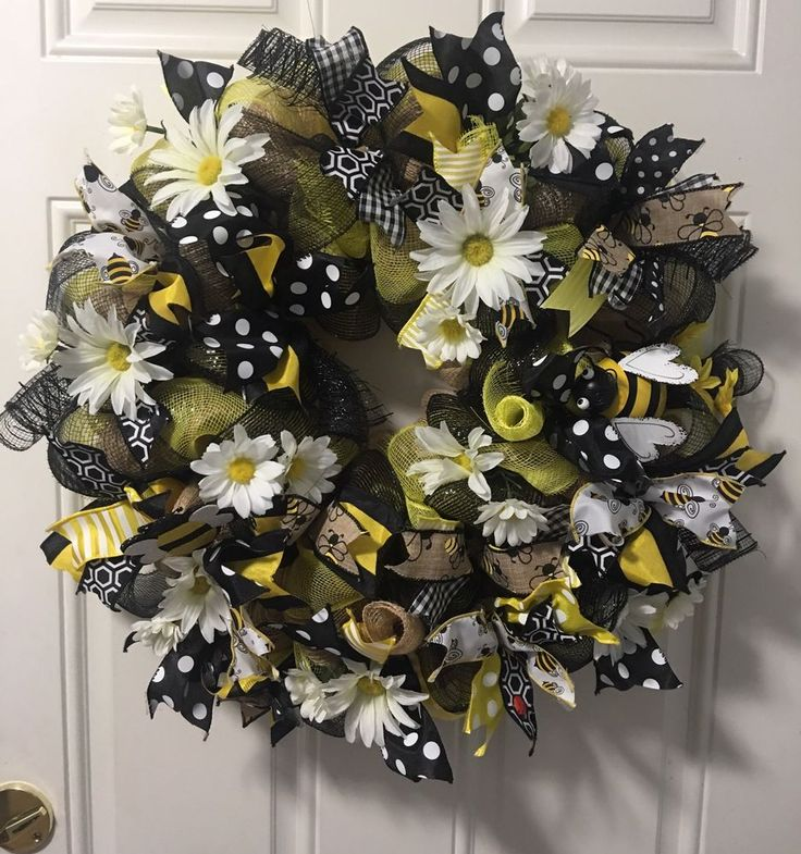 Bumblebee Daisy Spring Summer Burlap Deco Mesh Wreath In Home Garden Decor Door