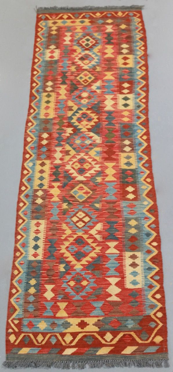 Veggie Dye Afghan Kilim Runner (Ref 1848) 290x84cm - PersianRugs.com.au