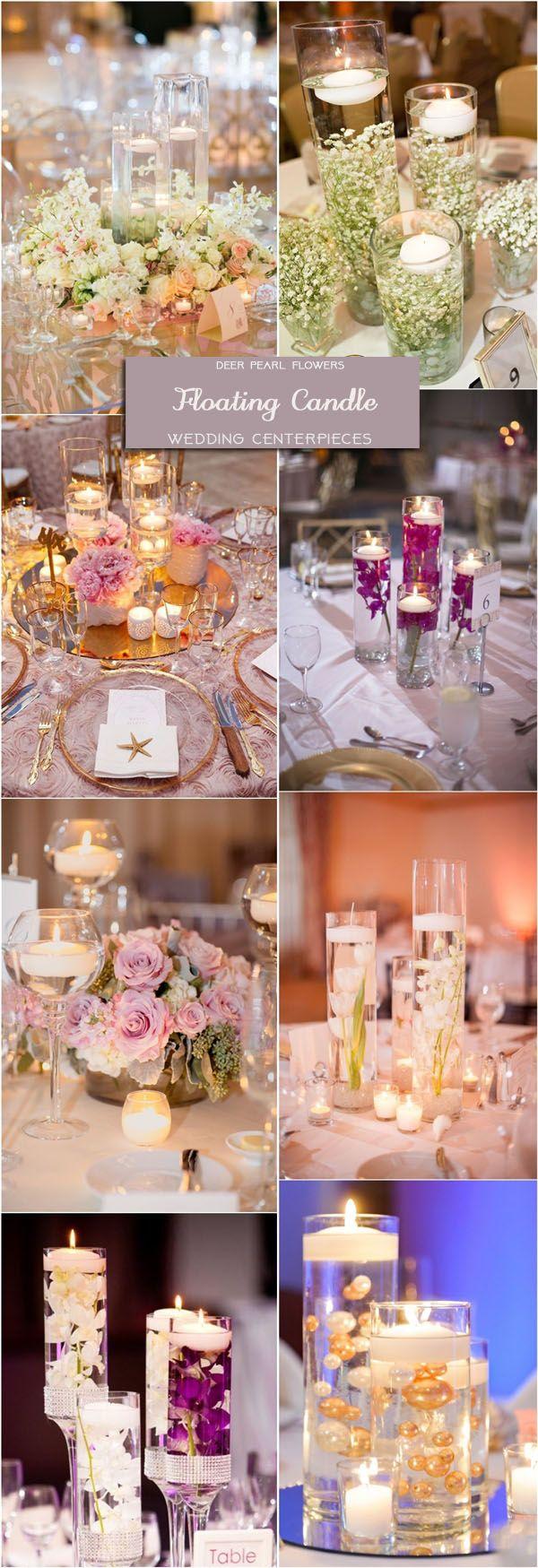 Floating Candle Wedding Centerpieces / http://www.deerpearlflowers.com/wedding-centerpiece-ideas/