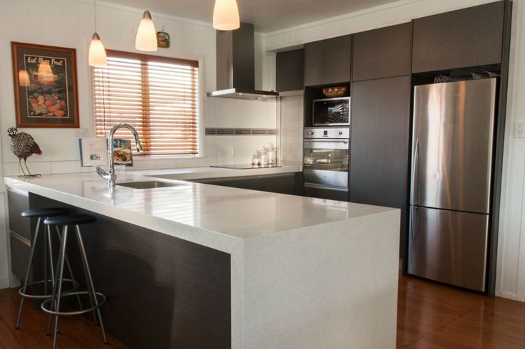 50mm Mitred Engineered Stone With Waterfall End Cb Benchtops Kitchen Benchtops In New Zealand