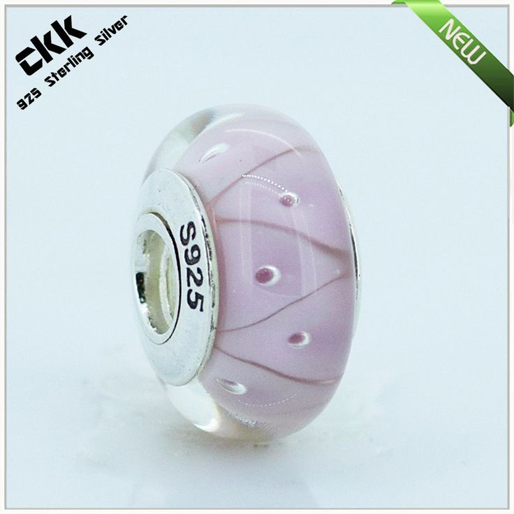 Fits for Pandora Bracelets Rose Looking Murano Glass Beads 100% 925 Sterling Silver Charms Fine Jewelry 25606A