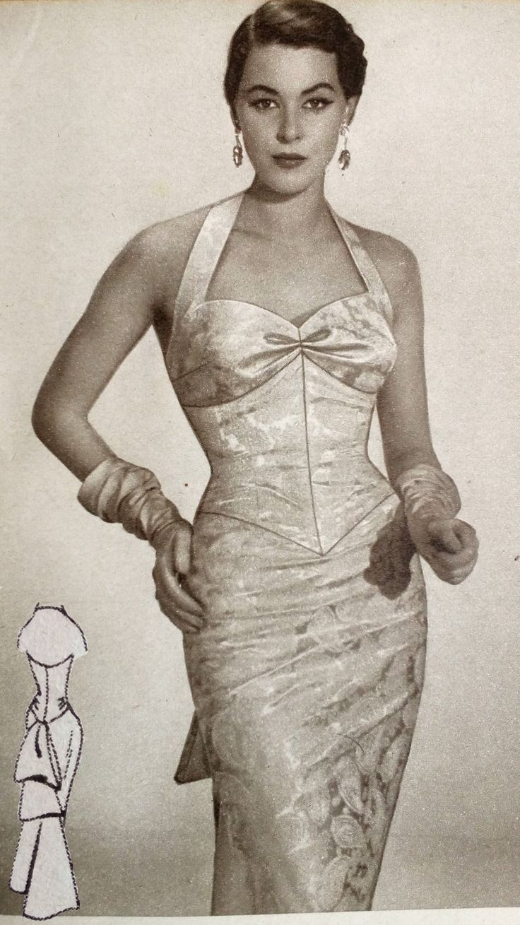 Vintage 1950s sleeveless wiggle formal evening dress sewing pattern for 96cm / 38″ bust size