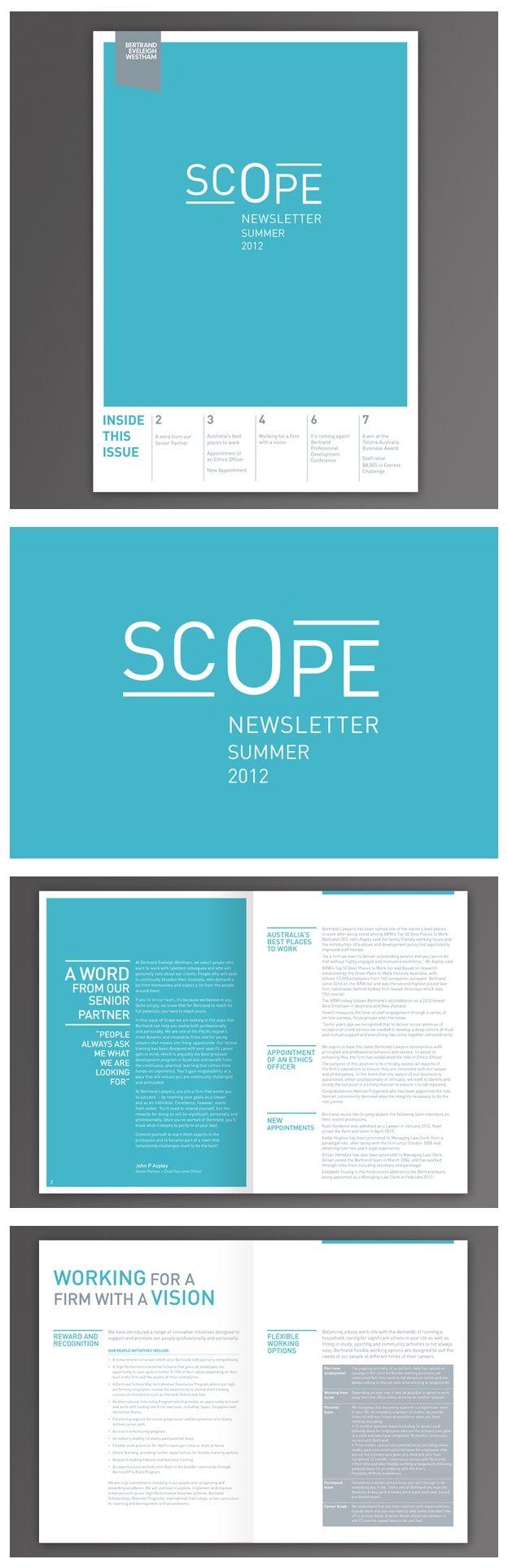 SCOPE  I  Bertrand Eveleigh Whestam  Corporate Newsletter   Student Work…