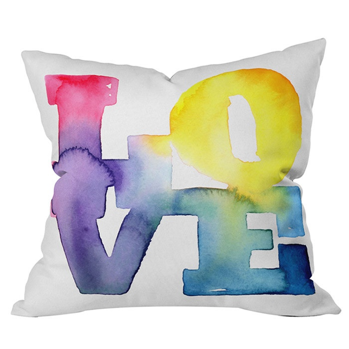 Watercolor Love Pillow #love #watercolor