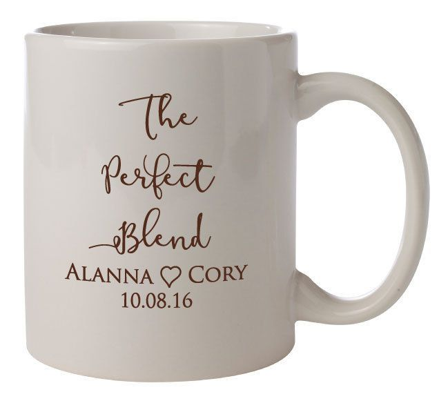 "Personalized Wedding Mugs ""The Perfect Blend"" 72 Ceramic Coffee Mugs PERSONALIZED Wedding Favors Gifts Vitrified Ceramic Coffee Cocoa Bar by Factory21 on Etsy #coffeemugs"