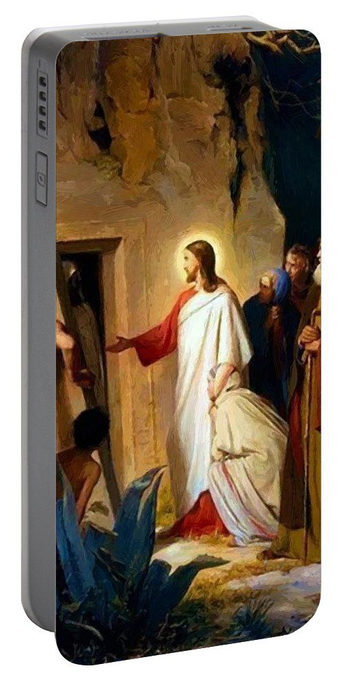 Raising Portable Battery Charger featuring the painting Raising Of Lazarus 1870 by Bloch Carl
