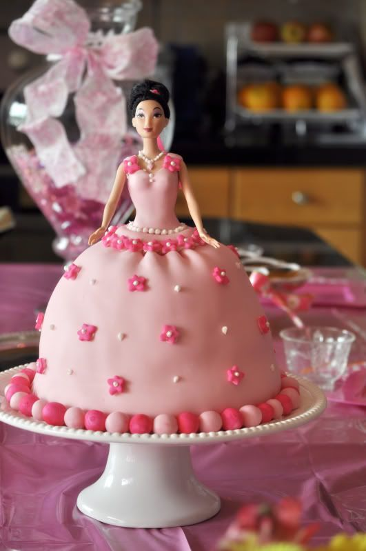 Decoration Of Barbie Cake : Cake I made for Faith s 3rd Birthday :) Mulan is the doll