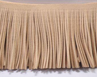 3,07 '' breite Wildleder Lederfransen, Khaki Quaste für Kostüm Fransen, Fransen trim faux Wildleder, Lederfransen, indische Fransen